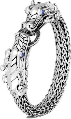 John Hardy 'Legends Naga' sapphire spinel double dragon head silver chain bracelet