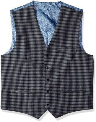 Alexander Julian Colours Men's Big and Tall Big & Tall Modern Fit Check Suit Separate Vest