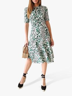 Sosandar Animal Print Twist Neck Dress, Green/White