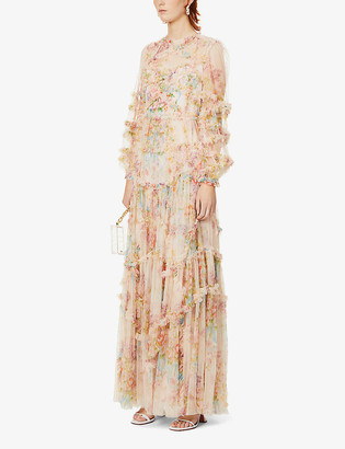 Ruffle-trimmed floral-print tulle maxi dress