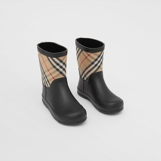Burberry Childrens House Check Rubber Rain Boots