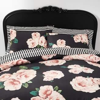 Pottery Barn Teen The Emily &amp Meritt Bed Of Roses Duvet Cover, King, Black/Pink
