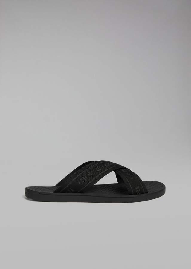 Giorgio Armani Logo Strap Flip-Flop With Leather Details
