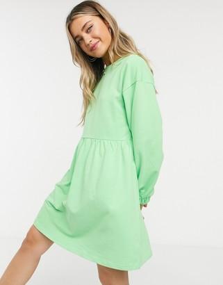 ASOS DESIGN mini sweat smock dress in bright green