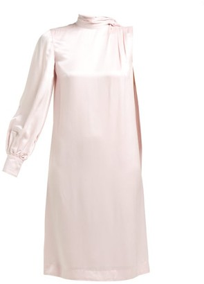 Erdem Venora One-sleeve Satin Dress - Womens - Pink