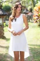 Artisan Crafted Cotton Hi-Low Sleeveless White Dress, 'Cempaka in White'