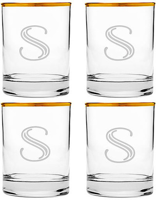 One Kings Lane Set of 4 Hudson Monogram Deco Glasses - clear/gold