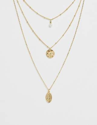 Ashiana gold multi layered pendant necklace with pearl
