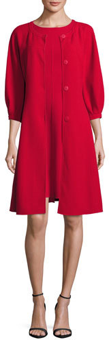 Armani Collezioni Double-Wool 3/4-Sleeve Caban Coat, Red