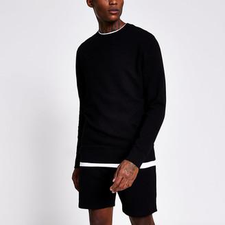 River Island Black long sleeve slim fit sweatshirt