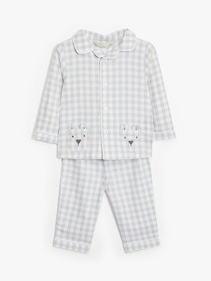 John Lewis & Partners Baby Check Woven Pyjamas, Light Grey