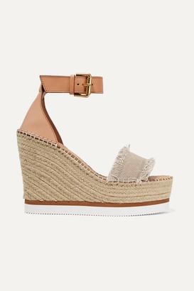 See by Chloe Canvas And Leather Espadrille Wedge Sandals - Beige