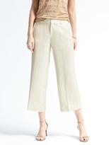 Banana Republic Blake-Fit Cream Linen-Blend Wide-Leg Crop Pant