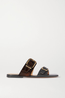Dries Van Noten Buckle-detailed Smooth And Patent-leather Slides - Black