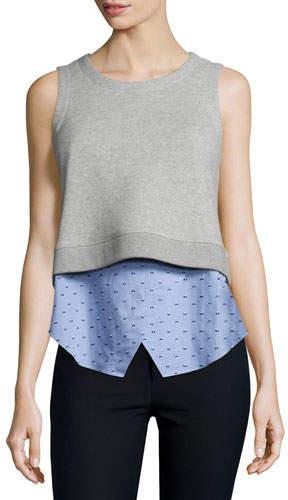 Derek Lam 10 Crosby Knit Sweatshirt Combo Tank, Blue/Gray