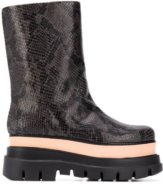 MSGM Snakeskin-Pattern Platform Boots
