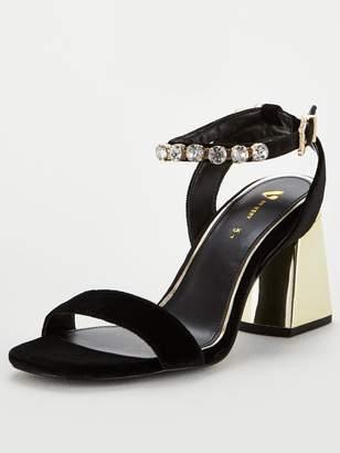 Very Jewel Strap Flare Heeled Sandal - Black