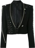 John Richmond Fortim chain embellished jacket - women - Acrylic/Polyester/Spandex/Elastane/Viscose - S