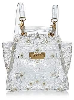 Zac Posen Eartha Floral Applique Clear Convertible Backpack