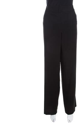 Escada Black Textured Wool and Silk High Waist Tanja Trousers XL