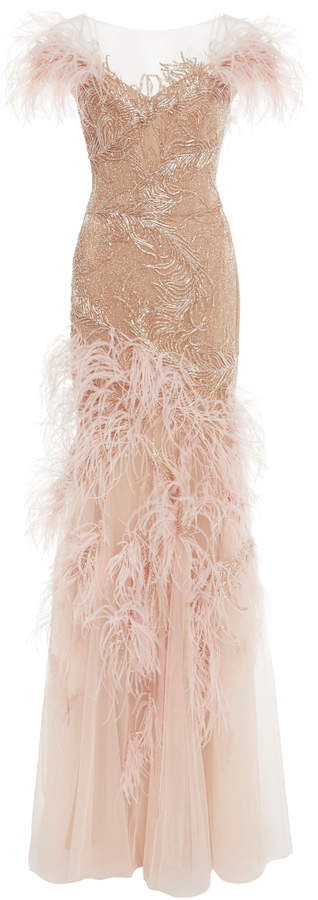 Marchesa Off The Shoulder Feather Gown
