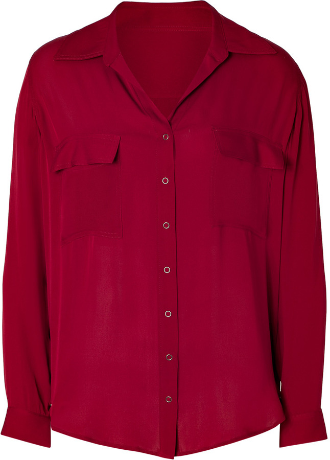 L'Agence LAgence Cranberry Silk Top