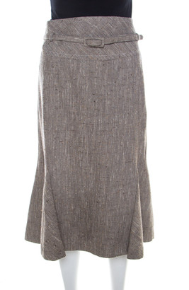 Escada Grey Silk and Wool Textured Belted Godet Skirt XXL