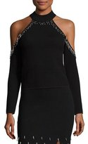 Jonathan Simkhai Beaded Knit Cold-Shoulder Top