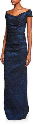 Rickie Freeman For Teri Jon Off-the-Shoulder Draped Jacquard Gown