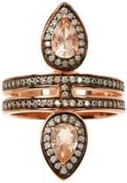 Savvy Cie 18K Rose Gold Vermeil Morganite CZ Fashion Ring