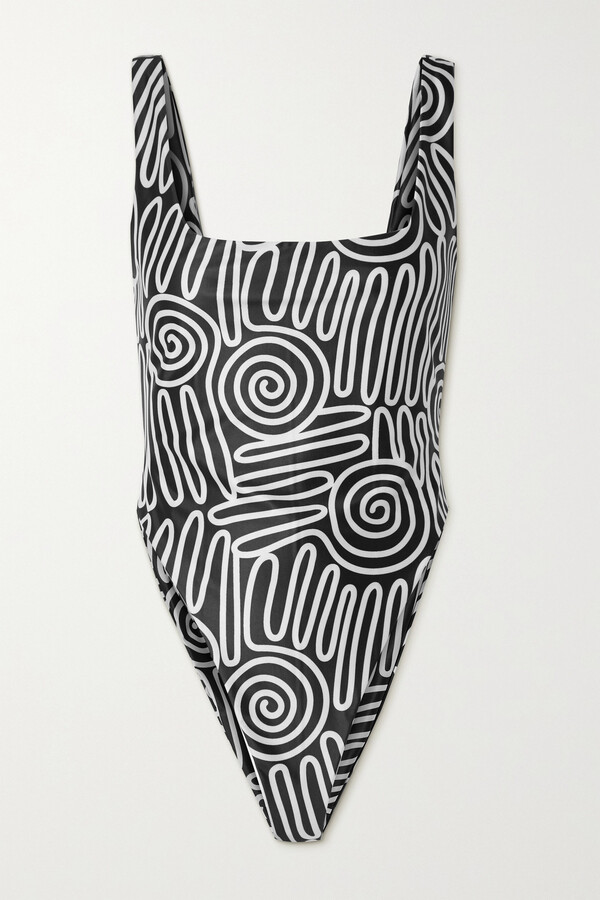 Thumbnail for your product : Mara Hoffman + Net Sustain Idalia Printed Recycled Swimsuit - Black