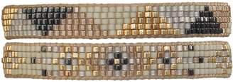 BEIGE Leju London Beaded Set Of Two Bracelets In Beige, Gold & Grey Tones