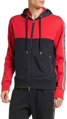 Moncler Men's Colorblock Zip-Front Hooded Cardigan