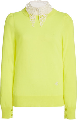 Adam Lippes Lace-Accented Wool Sweater