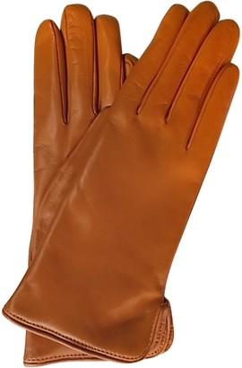 Forzieri Mandarin Leather Women's Gloves w/Cashmere Lining
