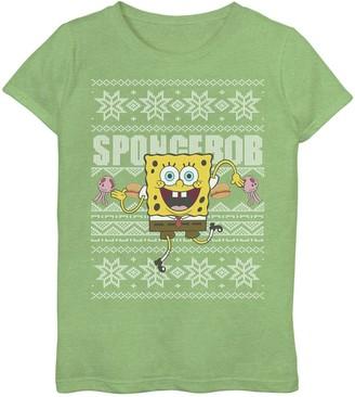 Licensed Character Girls 6-16 Nickelodeon SpongeBob SquarePants Dancing Ugly Christmas Top