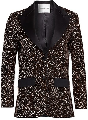 Each X Other Metallic Embellished Wool Single-Breasted Blazer