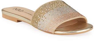 Neiman Marcus Sky Embellished Leather Slide Sandals
