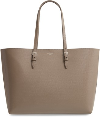 Saint Laurent Medium East/West Leather Shopping Tote