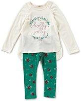 Copper Key Little Girls 2T-6X Christmas Holly Jolly Top & Printed Leggings Set