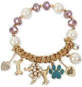 Betsey Johnson Gold-Tone Beaded Poodle Charm Bracelet
