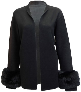 DOLCE CABO Faux Fur Cuff Open Front Cardigan