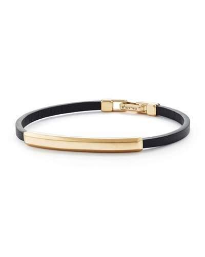 David Yurman Men's Leather ID Bracelet with 18k Gold