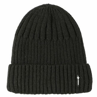 Dawwoti Women's Faux Fuzzy Fur Ribbed Hat Soft Cable Beanie Hat New Year Gift Stretch Knit Hat (Black One Size)