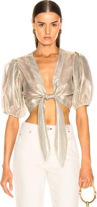 Lisa Marie Fernandez Pouf Metallic Tie Blouse in White & Gold | FWRD