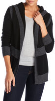 raffi Cashmere Color Block Hooded Cardigan