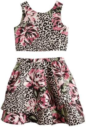 My Michelle Girls 7-16 Animal Printed Skirt Set