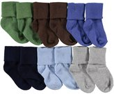 """Luvable Friends Baby Boys' """"Texture Cuff"""" 6-Pack Socks"""
