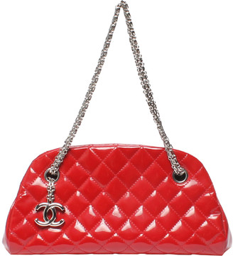 Chanel Red Matelasse Patent Leather Small Mademoiselle Bowling Bag