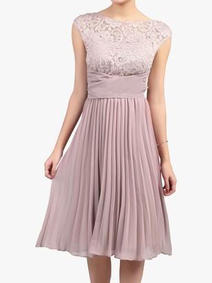 Jolie Moi Lace Bodice Pleated Dress, Mauve